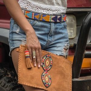 Handbags - Handmade Suede Bohemian Beaded Clutch